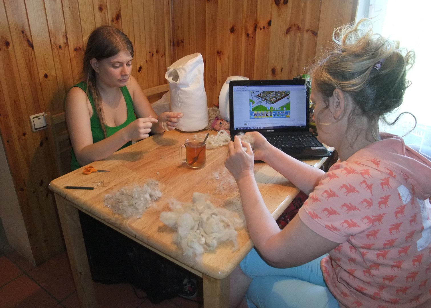Sitting with my mother and breaking wool